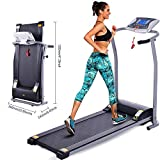 Electric Folding Treadmill, Compact Exercise Treadmills for Home Office Gym Small Spaces, Running Machine for Running and Walking w/LCD Display, Electric Motorized Running Machine