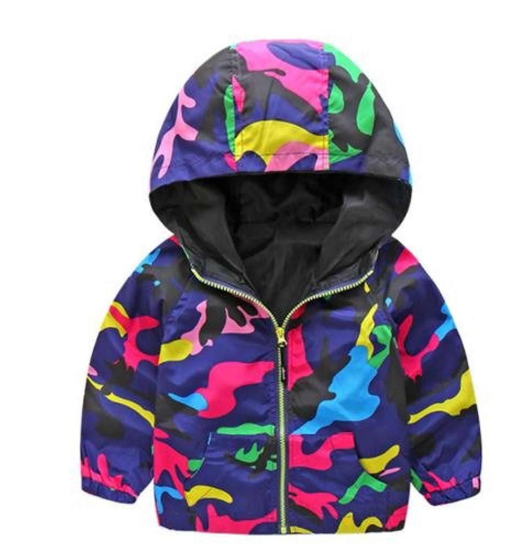 DearBaL キッズ アウター ジャケット ウインドブレーカー 迷彩 紫 スプラトゥーン 風 コート パーカー フード付き 冬 防寒 (110)