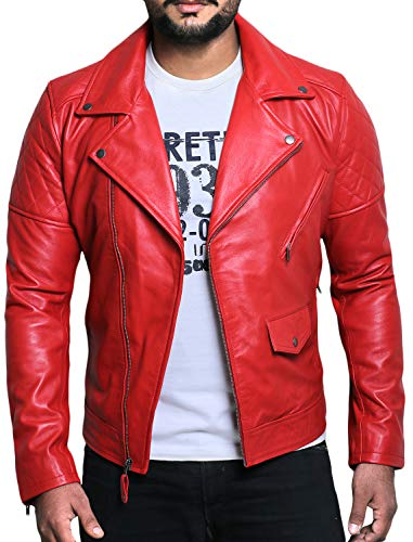 Laverapelle Men's Genuine Lambskin Leather Jacket (Red, Extra Large, Polyester Lining) - 1501492