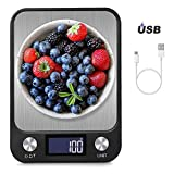 BENEFAST 1g bis 10 Kg Touch Control Digitale Küchenwaage, USB Aufladen, leuchtende LCD-Anzeige, Hochpräzise Elektronische Waage, Schwarz