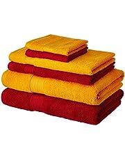 Amazon Brand - Solimo 100% Cotton 6 Piece Towel Set, 500 GSM