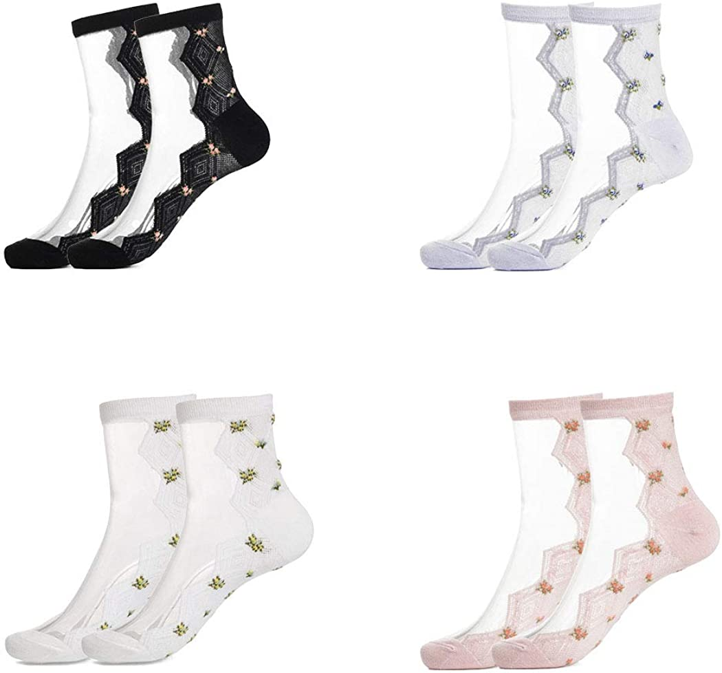 Sethexy Mesh Socks Sheer Transparent See Through Ankle Socks Outdoors Casual Socks for Women and Girls