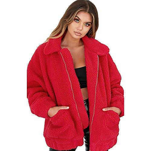 GOKOMO Damen Jacke Winter Warmer Parka Outwear Damen Mantel Mantel(Rot,X-Large)
