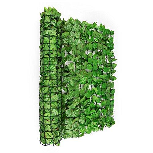 blumfeldt Fency Bright Leaf - Sichtschutz, Windschutz, Lärmschutz, 300 x 150 cm, Buchenblätter, kunststoffummanteltes Gitternetz, 6 x 6 cm Maschenweite, Flexbinder zur Befestigung, hellgrün