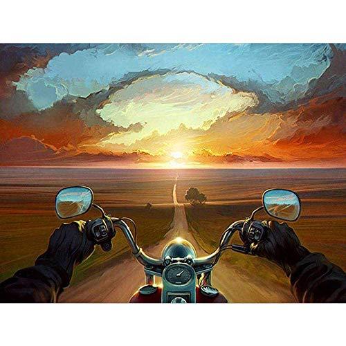 JRGGPO Conducir una Motocicleta al Atardecer Kit de Pintura de Diamante 5D Niños Adulto Regalo Mosaico de Diamantes para decoración de la Pared del hogar(40x50cm Diamante Cuadrado)