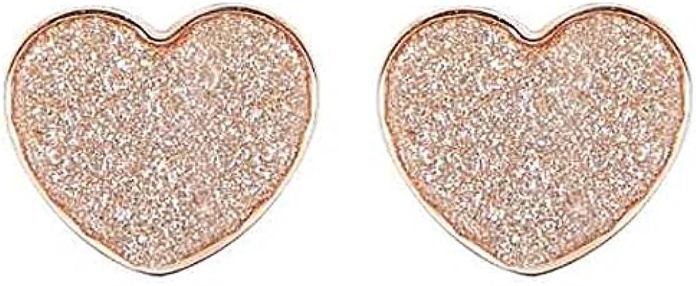 Boccadamo,orecchini per donna, in bronzo placcato oro rosa con cuore glitterato Gpor04