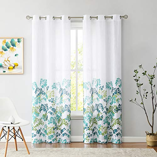 """Print Semi-Sheer Curtains 95 Inches Long for Living Room Bedroom, Green Teal Floral Pattern on White Linen Textured Drapes, Grommet Top Window Treatments 42"""" W 2 Panel Sets"""