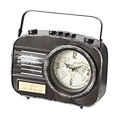 WHW Whole House Worlds Vintage Clock, Faux AM KHZ Radio, Metal, Quartz Movement, Rectangle, Black, Battery Powered (1 AA) 8.25 L x 2.25 W x 6.25 H inches, 1.0 lbs