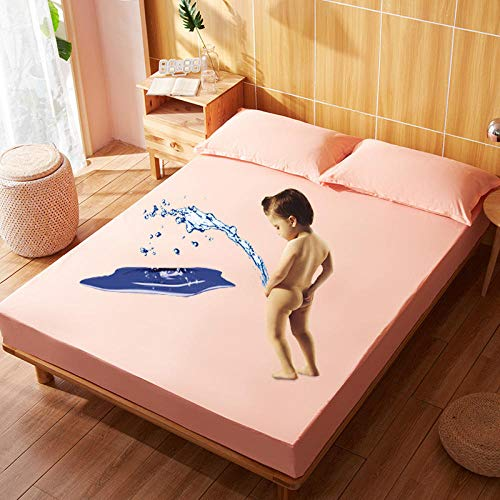 N / A Super King Flat Sheet,Waterproof changing pad, cotton bedspread, solid color bed sheet, baby children's solid color mattress protector-orange_100x190cm+28cm