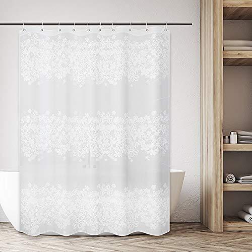 AVNICUD Duschvorhänge Textil, PEVA-Bad Curtain, Anti-Schimmel, Wasserdicht, Antibakteriell, mit 12 Duschvorhangringen(180 * 180cm)
