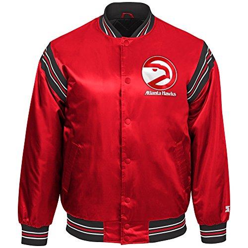 STARTER Youth Boys The Enforcer Retro Satin Jacket NBA Atlanta Hawks, Red, Large