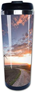 Portable Stainless Steel Insulated Coffee Travel Cup Mug,Wind turbines with power line in the sunset!leak-proof flip cover keeps hot or cold 13.6 oz (400 ml)