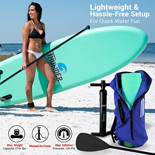 Product Image 7: SereneLife Inflatable Stand Up Paddle Board (6 Inches Thick) with Premium SUP Accessories & Carry Bag   Wide Stance, Bottom Fin for Paddling, Surf Control, Non-Slip Deck   Youth & Adult Standing Boat