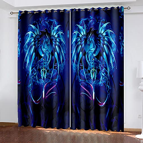ADKMC Cortinas 100% Opacas, Azul Animal Dragón Líneas 170X200CM para Salón, Insonorización, con Ojales, Térmicas, para Habitación Infantil O Cocina,Juego De 2