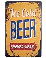 ICE Cold Beer Served Here 注意看板メタル安全標識注意マー表示パネル金属板のブリキ看板情報サイントイレ公共場所駐車ペット誕生日新年クリスマスパーティーギフト