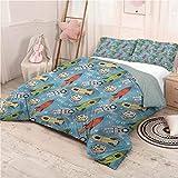 prunushome Space Bedding-Sets Duvet Cover Astronauts with Rockets Duvet Cover Bedding Set & Pillowcase