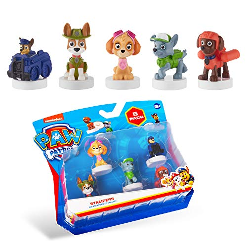 PAW Patrol Blister 5-Pack Figures with Stampers – Mess-Free, Paw Patrol Birthday Cake Toopers Decorations, Party Favors – Including Skye and Chase – Mini Figurines Stand 2.5 to 3 in. Tall