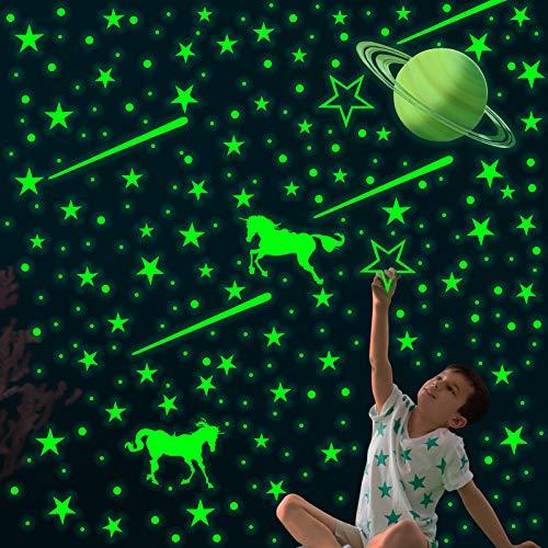 TANOSAN - Adesivi da parete con stelle e pianeti che si illuminano al buio, realistici 3D stellati spaziali galassia da parete per ragazzi e ragazze, decorazione per camera da letto (marrone)