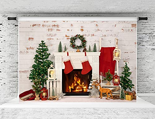 Kate 7x5ft Merry Christmas Photography Backdrop Brick Wall Background Christmas Tree Backdrop Party Decoration