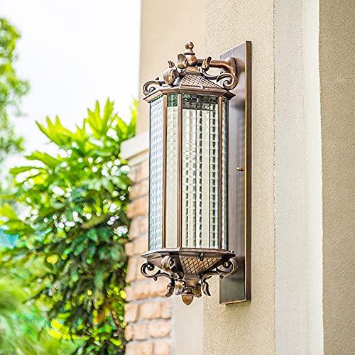 LGOO1 Lámpara de pared china impermeable, rectangular, cuadrada, lámpara de pared de vidrio, patio al aire libre, porche, balcón, lámpara de pared para jardín, estilo japonés, a prueba de herrumbre, p