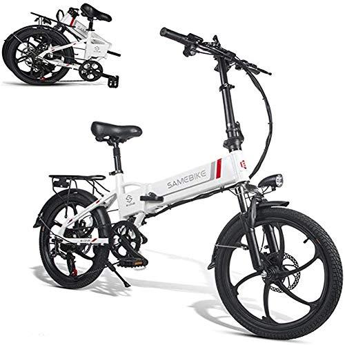 ZHANGY Bicicleta eléctrica 20 LVXD30 48V 10.4AH 350W 25km / h Bicicleta eléctrica Bicicleta eléctrica Plegable 30-40km Kilometraje Control Remoto,Blanco