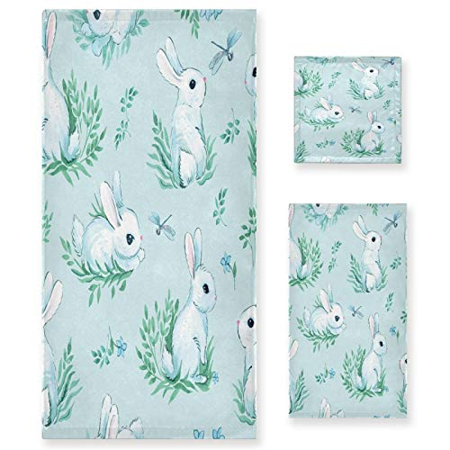 Qilmy Juego de 3 toallas decorativas de conejo de Pascua, juego de toallas decorativas de baño, toallas suaves absorbentes de secado rápido para el baño, con toalla de baño, toalla de mano y paño