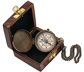 Roorkee Instruments India Engravable Brass Magnetic Compass with Wood Case