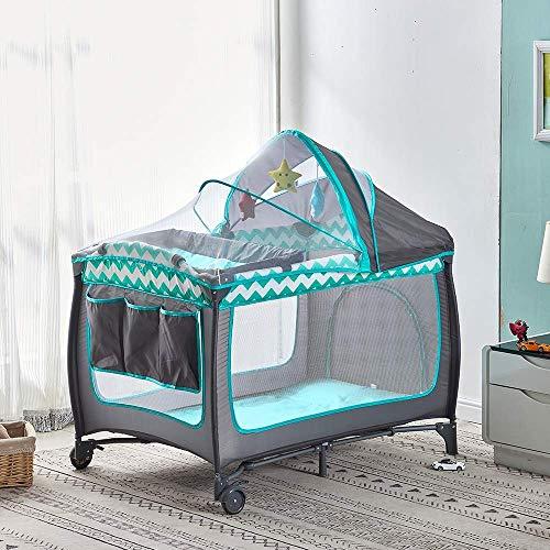 Cuna de Viaje portátil de 2 Niveles para bebés y niños pequeños, Plegable con Cambiador de Cama, colchón y Bolsa de Transporte incluida, Patio de Juegos para guardería (2 en 1 Verde)