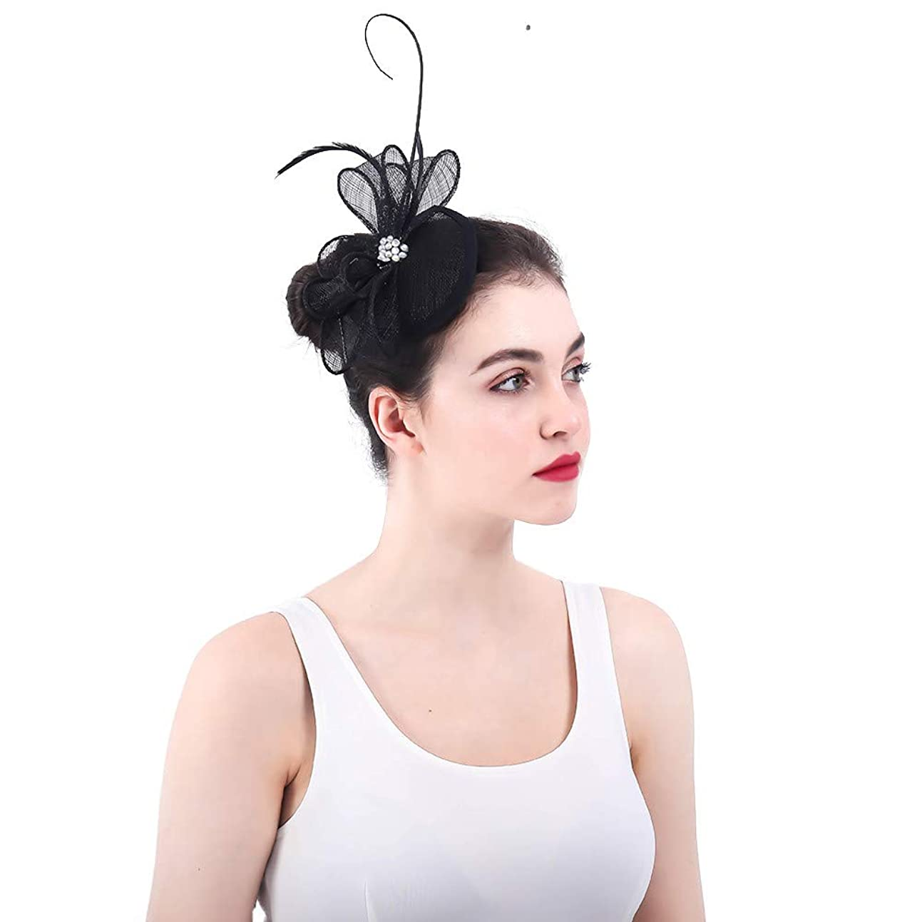 石膏より良いアプローチ女性の魅力的な帽子 女性のエレガントな花の羽の魅惑的な帽子の結婚式の帽子ヘアクリップアクセサリー女性の日レースロイヤルアスコット (色 : ピンク)