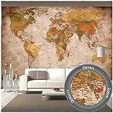GREAT ART Fototapete – Weltkarte – Wandbild Used Look Dekoration Old School Vintage World-Map Globus Kontinente Atlas Retro - Weltkugel Geografie Wandtapete...