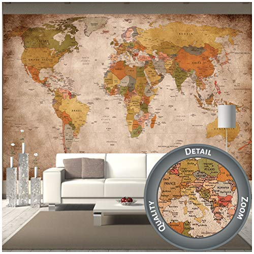 GREAT ART Fototapete – Weltkarte – Wandbild Used Look Dekoration Old School Vintage World-Map Globus Kontinente Atlas Retro - Weltkugel Geografie Wandtapete (336 x 238 cm)