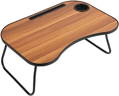 Home-Like ローテーブル ちゃぶ台 キッズデスク 折り畳みテーブル 北欧 カップホルダー付き スロット付き 子ども用テーブル 勉強机 リビングテーブル ピクニックテーブル ミニテーブル 軽量 持ち運び シンプル おしゃれ (ブラウン)