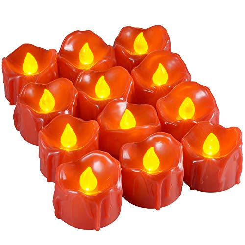 Red Unscented Votive LED Candles, PChero 12 Packs Battery Operated Flickering Realistic Tea Lights for Proposal Wedding Christmas Centerpieces Decorations