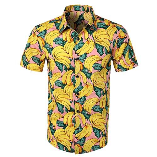 YEBIRAL Polos Manga Corta Hombre Manga Corta Básico Polo con Botones Camisa Hawaiana Hombre Camiseta Fruta Floral Estampado Formales Tops (L,Amarillo-1)
