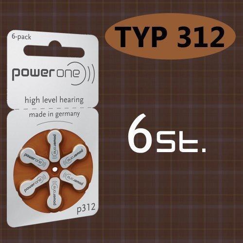 6 piles bouton PowerOne type p 312 pour appareil auditif.