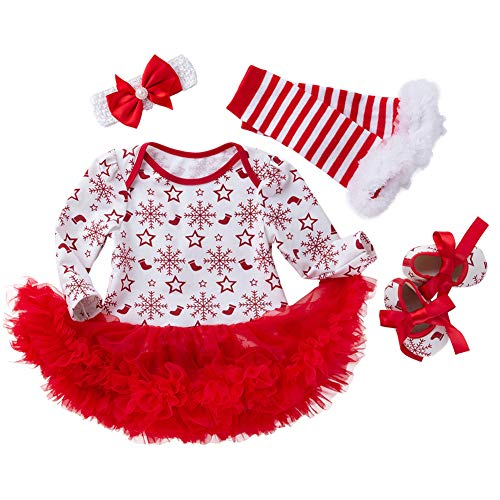 FEOYA - (Conjunto de 4 Vestido Traje de Navidad Tutú para Bebés Niña Recién Nacidos Estrella Nieves con Mangas Largas Venda de Pelo y Calcetines Zapatos para Fiesta - Navidad Blanco - S(0-3Meses)