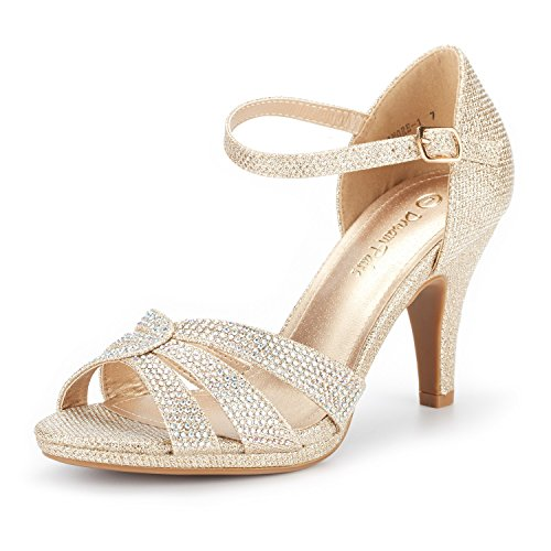 DREAM PAIRS Women's Amore_1 Gold Glitter Fashion Stilettos Open Toe Pump Heel Sandals Size 11 B(M) US
