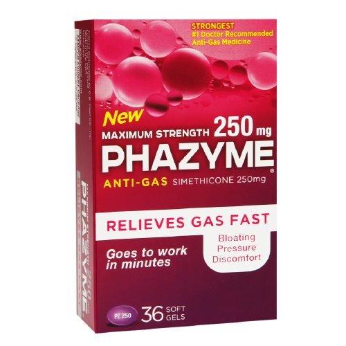 Phazyme Maximum Strength 250mg Anti-Gas Simethicone Soft Gels 36 ea