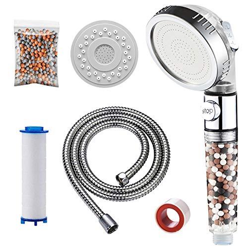 KAIYING öko Filter Duschkopf, 3 Modi Wasserenthärter Duschkopf mit Filter, Wassersparende Kalkfilter Dusche mit PP-Baumwollfilter, Extra-Filtersteine , Ersatz-Panel (Mit Schlauch, Durchsichtig)