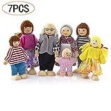 Lifreer Puppenhäuser 1 Packung Puppenhaus aus Holz Puppenhaus Möbelsets von 7 Personen Puppenhauszubehör für Puppenhaus Kinder Kinderspielzeug, Haus...