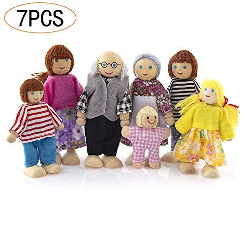 Lifreer Case delle Bambole 1 Confezione Casa delle Bambole in Legno Casa delle Bambole Set di 7 Persone Casa delle Bambole Accessori per la casa delle