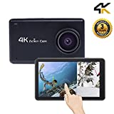 Action Camera Touch Screen 1080P HD 4K WiFi Sport Camera Video Underwater Cam with 170 Wide Angle Rechargeable Battery DV Black