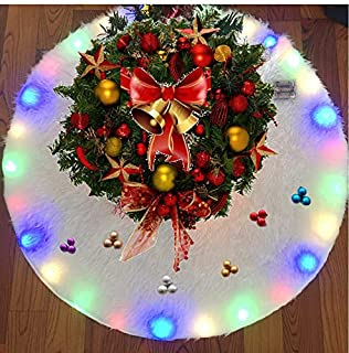 skyfiree White Christmas Tree Skirt with Lights 48 inch Plush Faux Fur Xmas Tree Skirt for Christmas Decoration Party and Holiday Decor (48 inch with Lights)