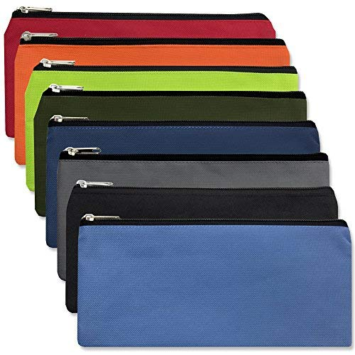 24 Pack of Classic Traditional Cloth Pencil Cases in Bulk, in Solid Colors (24 Pack)