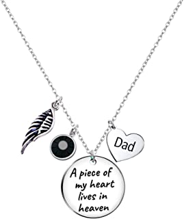 Paris Selection Dad Memorial Necklace Sympathy Gift- A Piece of My Heart Lives in Heaven in Memory of Dad