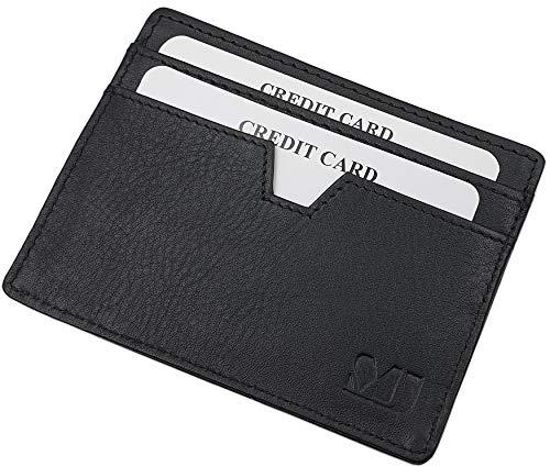 Extraplano Tarjetero para Tarjeta de crédito Vegetal Cuero curtido (Negro)