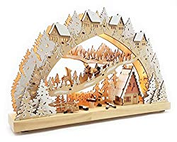 Wichtelstube Collection Real wood LED candle arch with timer Hunting lodge in the Erzgebirge Original chandelier Schwippbogen Lichterbogen