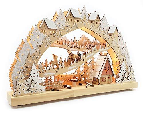 Wichtelstube-Kollektion Echtholz LED Schwibbogen mit Timer Jagdhütte im Erzgebirge Original Leuchter Schwippbogen Lichterbogen