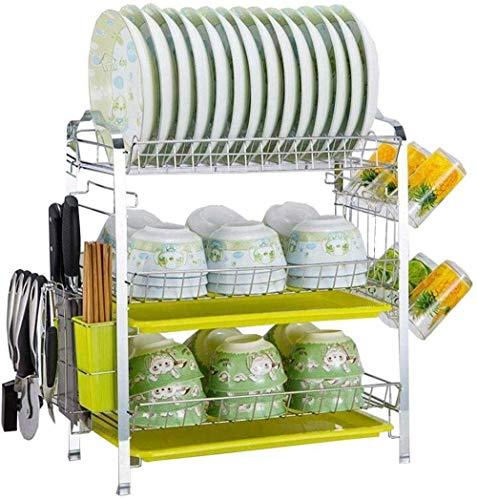 HFTD Comodidad Estante para Cuencos de Tres Capas Estantes para escurrir para secar Platos Estantes Platos Vajilla Vajilla Caja de Almacenamiento Estantes de Cocina duraderos