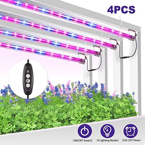 YASBED LED Pflanzenlampe Vollspektrum Pflanzenlicht Pflanzenleuchte mit Timer 3H/6H/12H Strip Wachsen licht Wachstumslampe Pflanzenlichter für Zimmerpflanzen Gartenarbeit-4Pcs